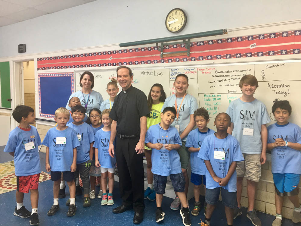 Bishop Burbidge with 2nd and 3rd grade students at Vacation Bible School (June 29, 2017)