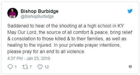 Bishop Burbidge 1 23 2018 tweet