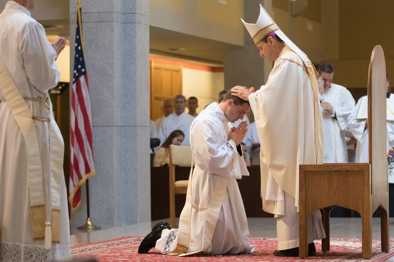2017 Priesthood Ordinations Laying of Hands Bishop Burbidge Vaccaro